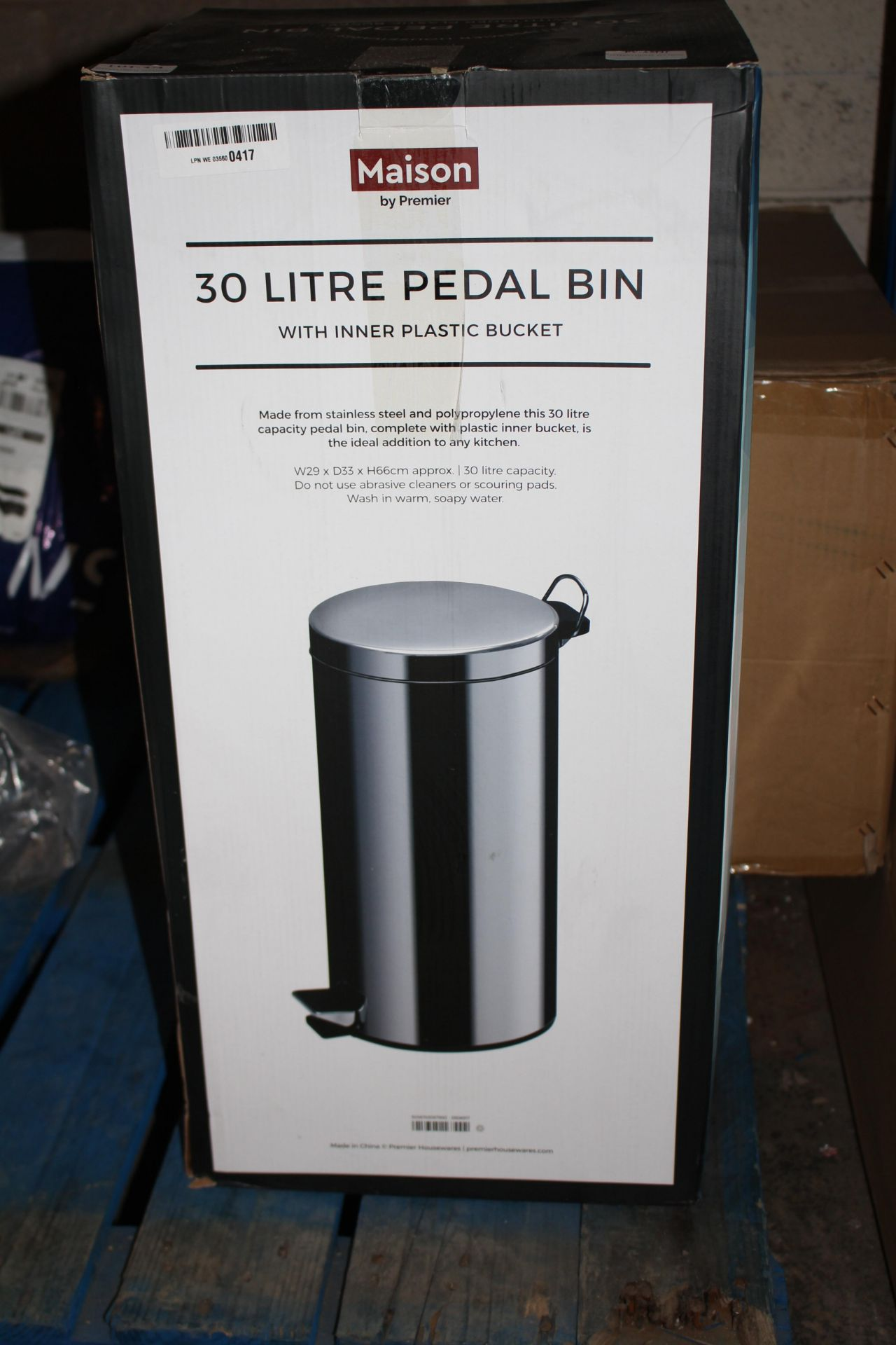 BOXED MAISON 30 LITRE PEDAL BIMN Condition ReportAppraisal Available on Request- All Items are