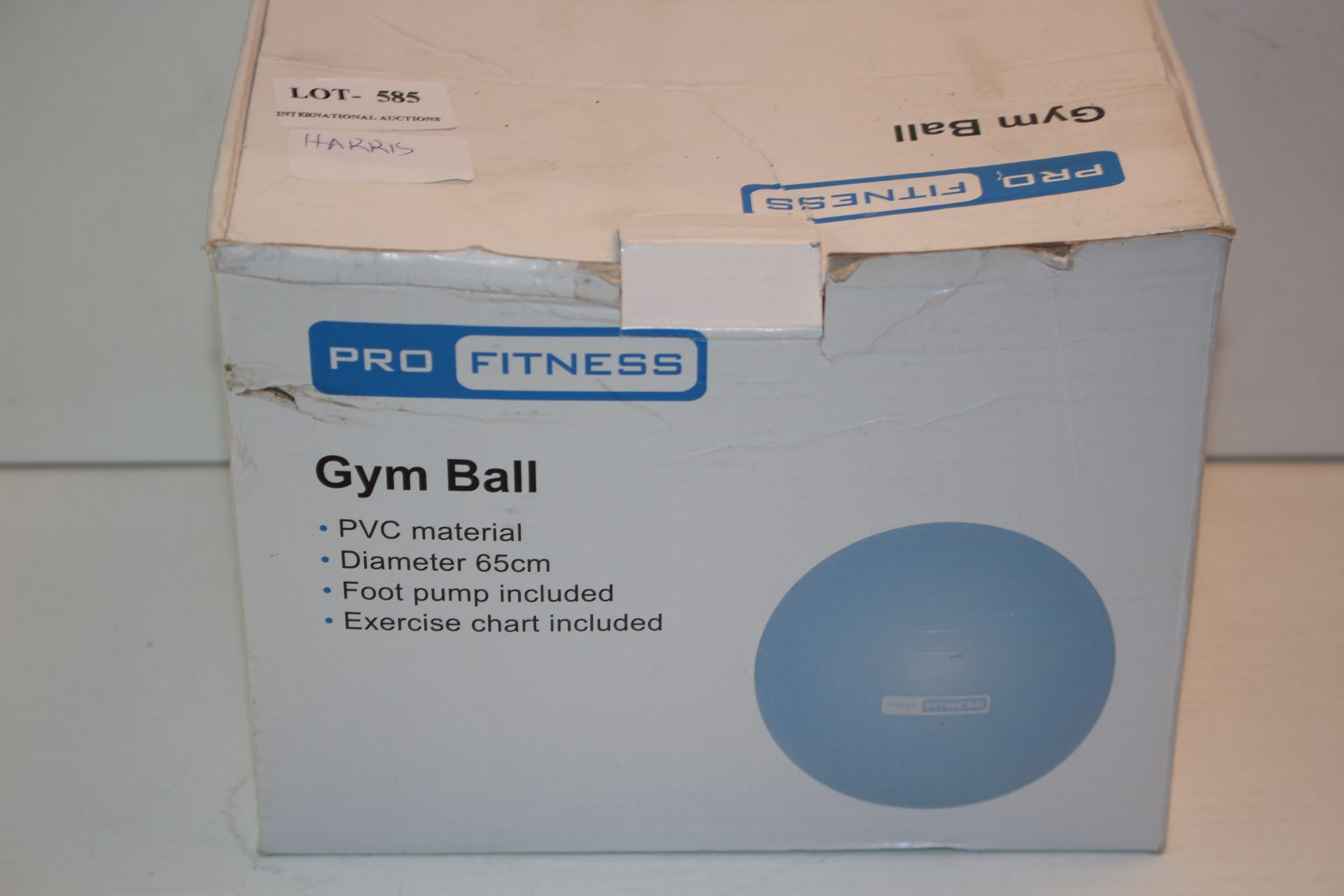 BOXED GYM BALL Condition ReportAppraisal Available on Request- All Items are Unchecked/Untested