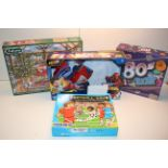 4X ASSORTED BOXED ITEMS TO INCLUDE SPIDER-MAN, FOOTBALL GAME, FALCON PUZZLE & 80'S GAME (IMAGE