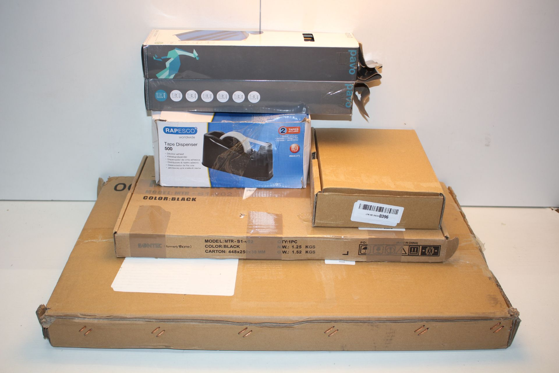 6X BOXED ASSORTED ITEMS TO INCLUDE TAPE DISPENSER, MONITOR STAND & OTHER Condition ReportAppraisal