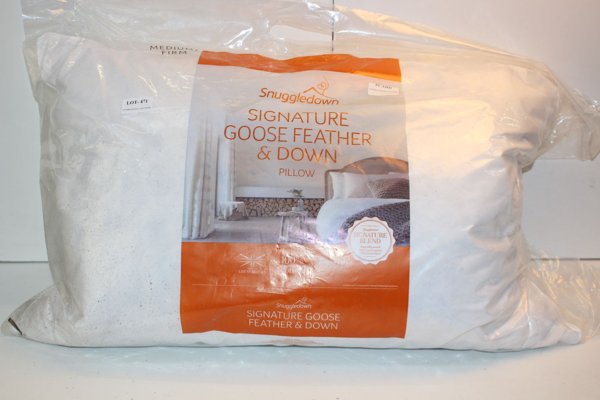 BAGGED SNUGGLEDOWN SIGNATURE GOOSE FEATHER AND DOWN PILLOW Condition ReportAppraisal Available on