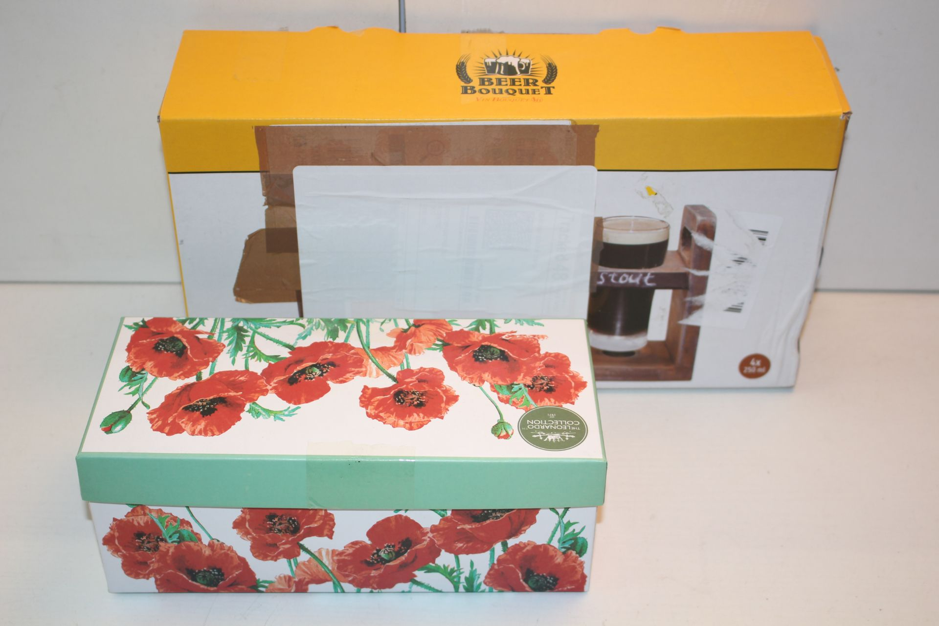 X2 BOXED ITEMS INCLUDING BEER BOUQUET AND ROSE CUP Condition ReportAppraisal Available on Request-