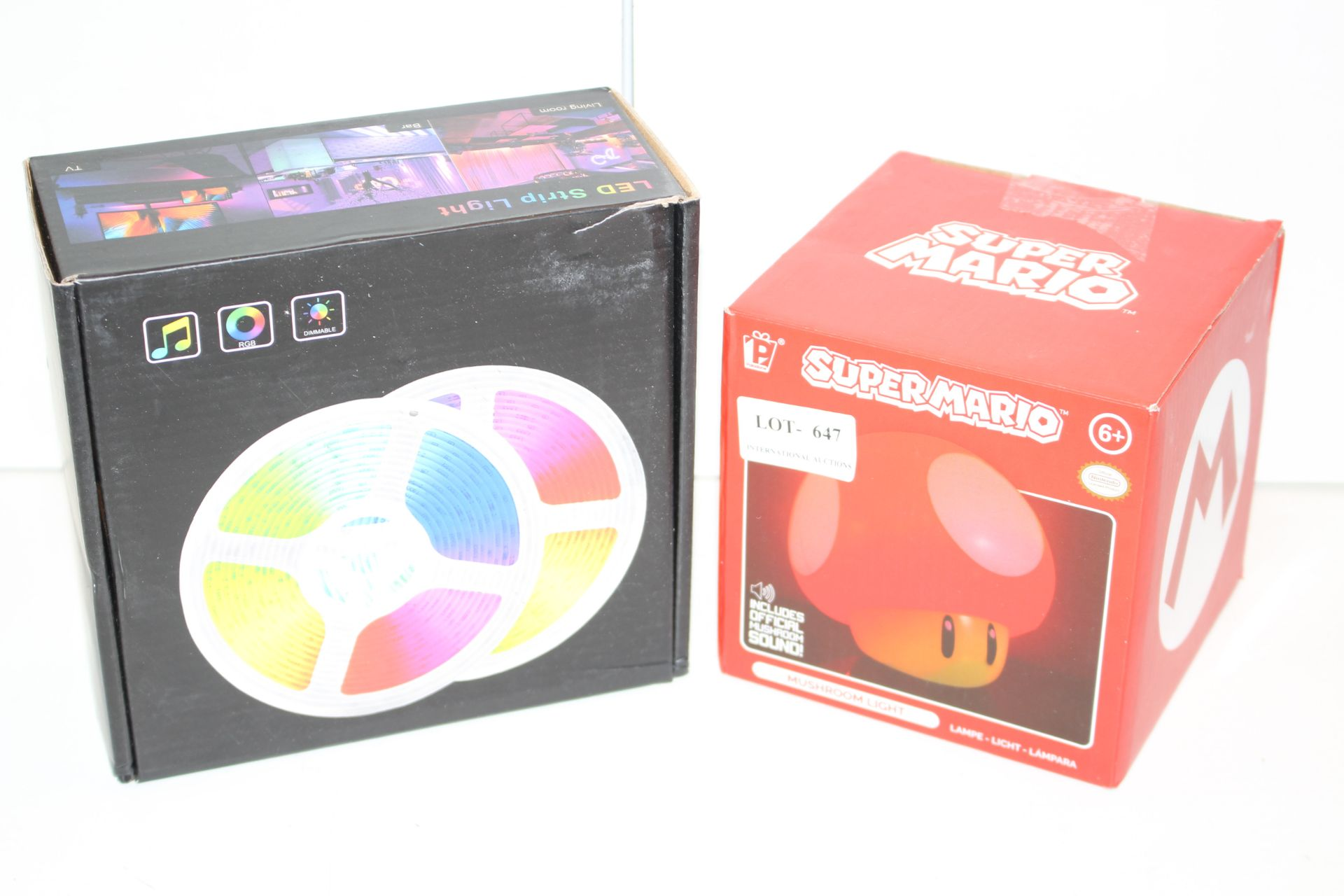 X2 BOXED LIGHTS INCLUDING LED STRIP AND SUPER MARIO MUSHROOM HEADCondition ReportAppraisal Available