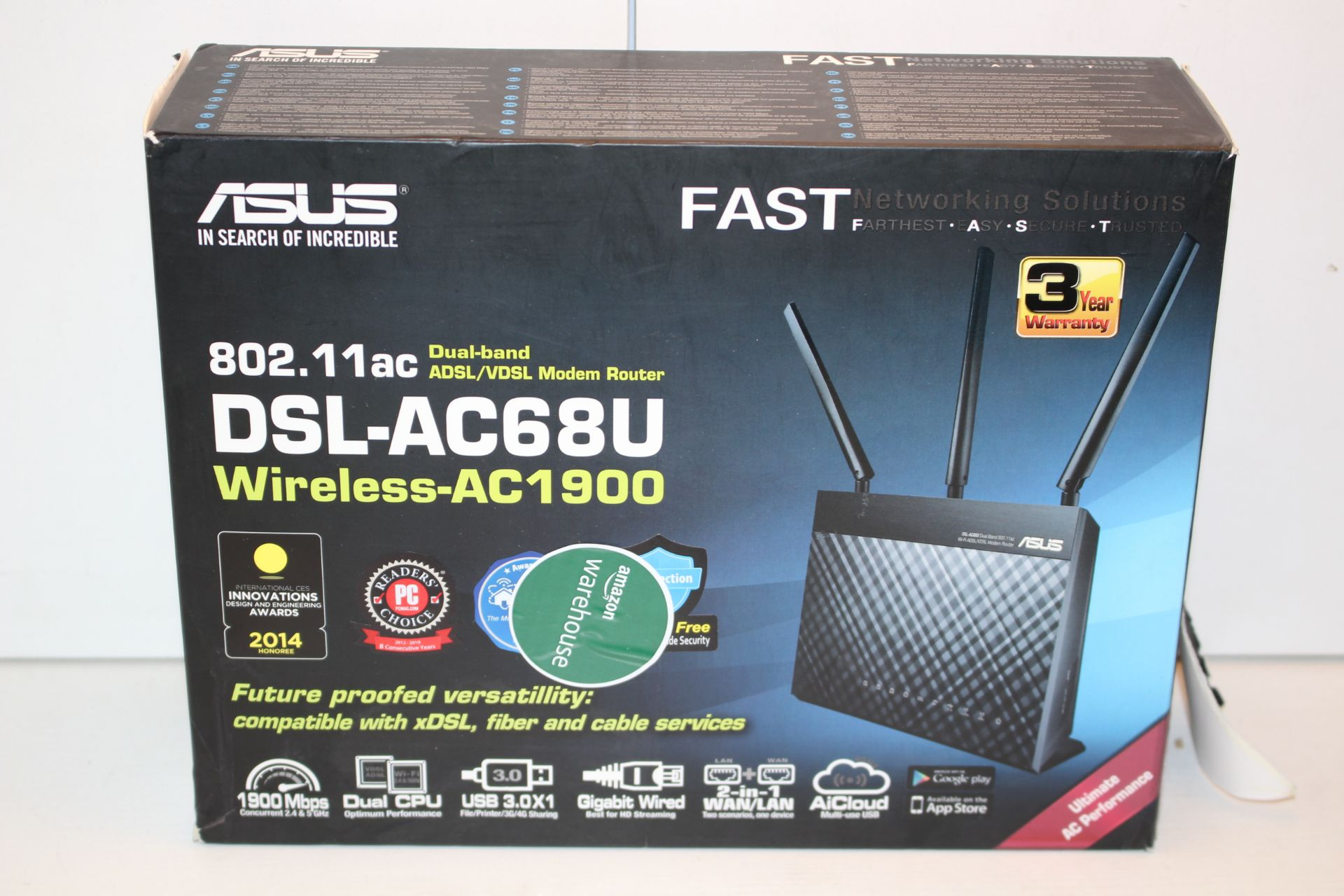 BOXED ASUS FAST NETWORKING SOLUTION DUAL BAND WIRELESS ROUTER DSL-AC68U RRP £160.00Condition