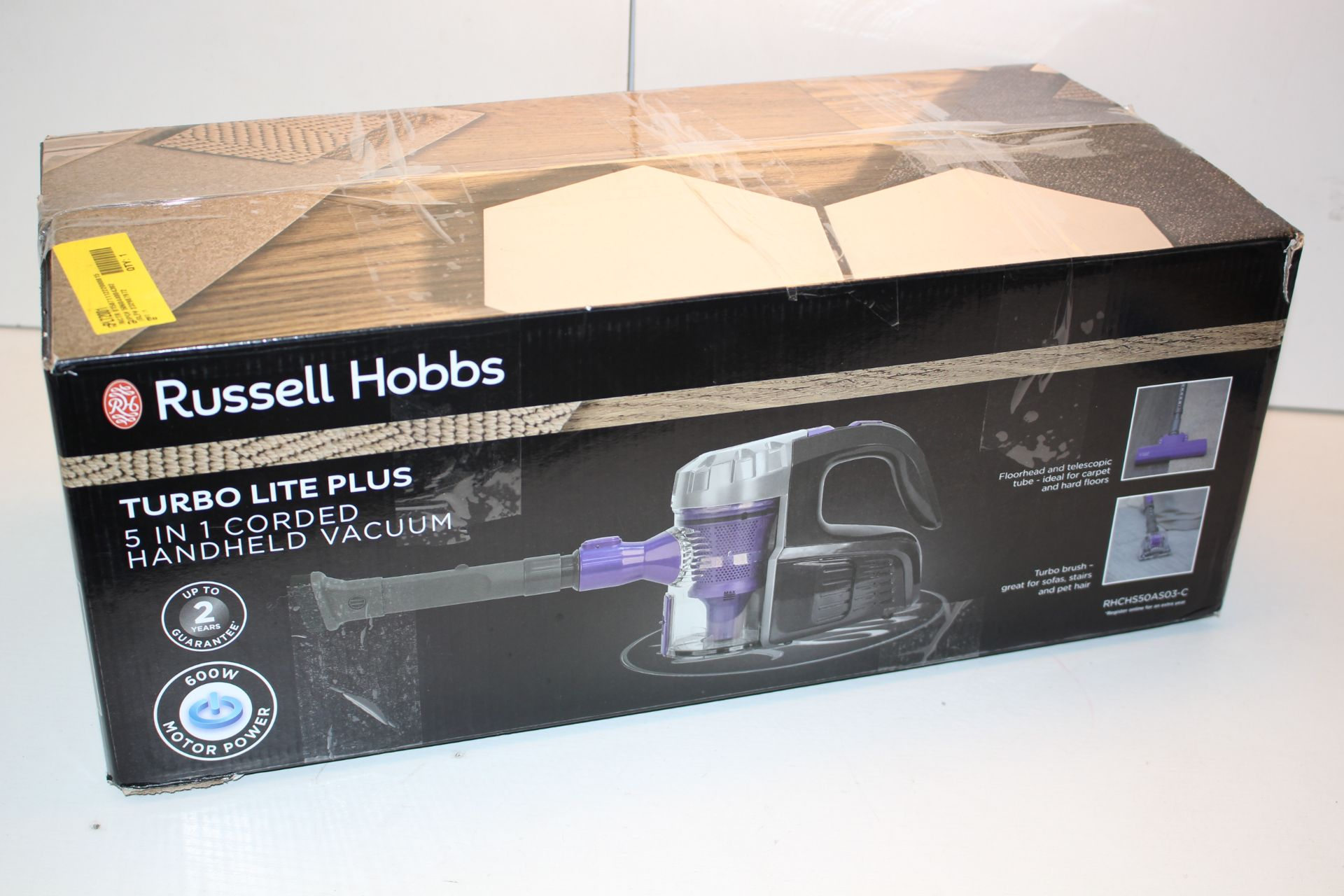 BOXED RUSSELL HOBBS TURBO LITE PLUS 5-IN-1 CORDED HANDHELD VACUUM MODEL: RHCHS50ASO3-C RRP £59.
