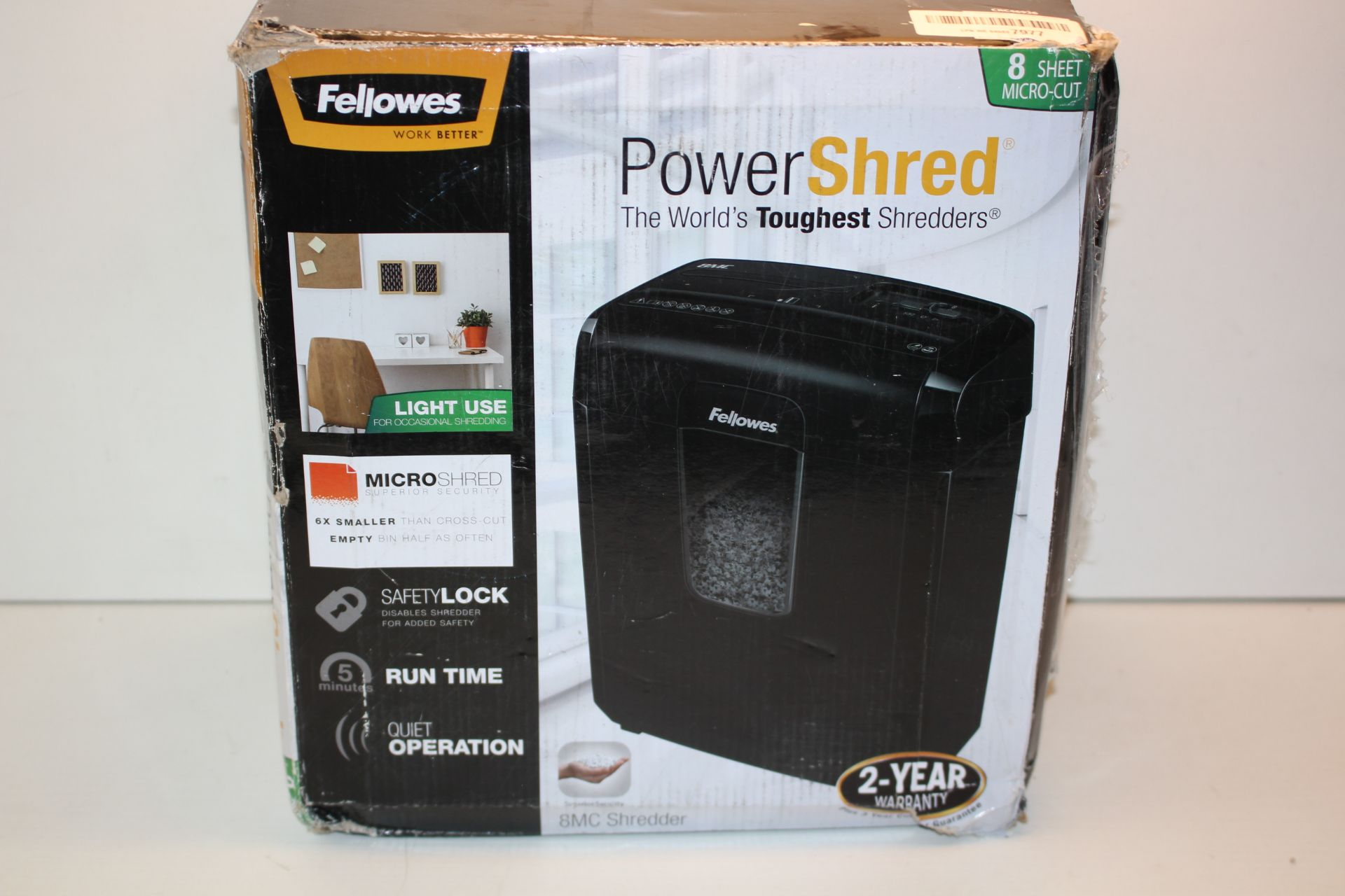BOXED FELLOWES POWERSHRED 8MC SHREDDER RRP £45.99Condition ReportAppraisal Available on Request- All