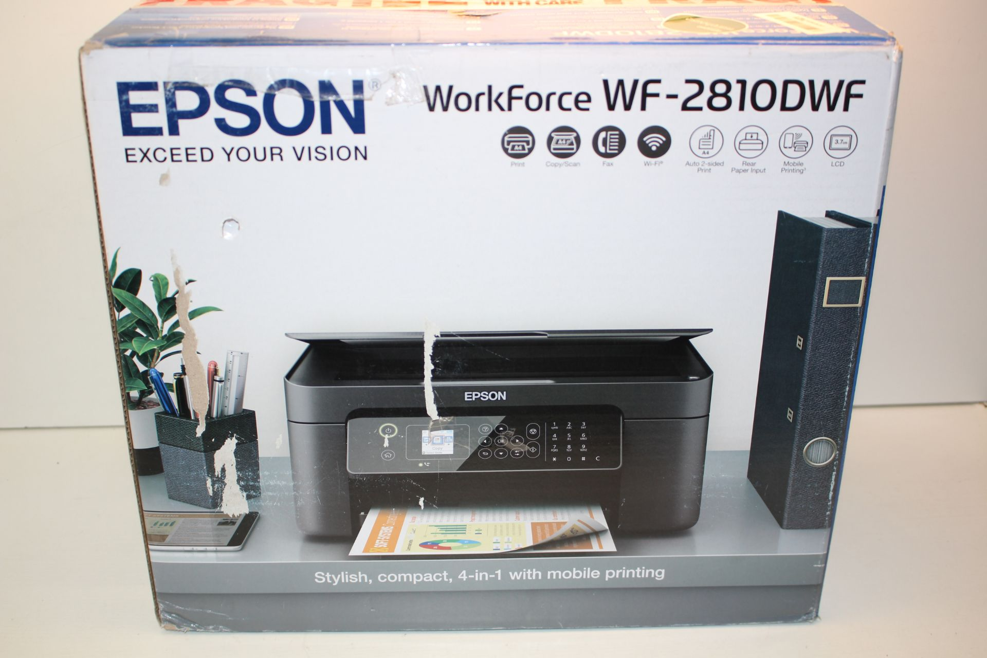 BOXED EPSON WORKFORCE WF-2810DWF PRINTER RRP £86.47Condition ReportAppraisal Available on Request-