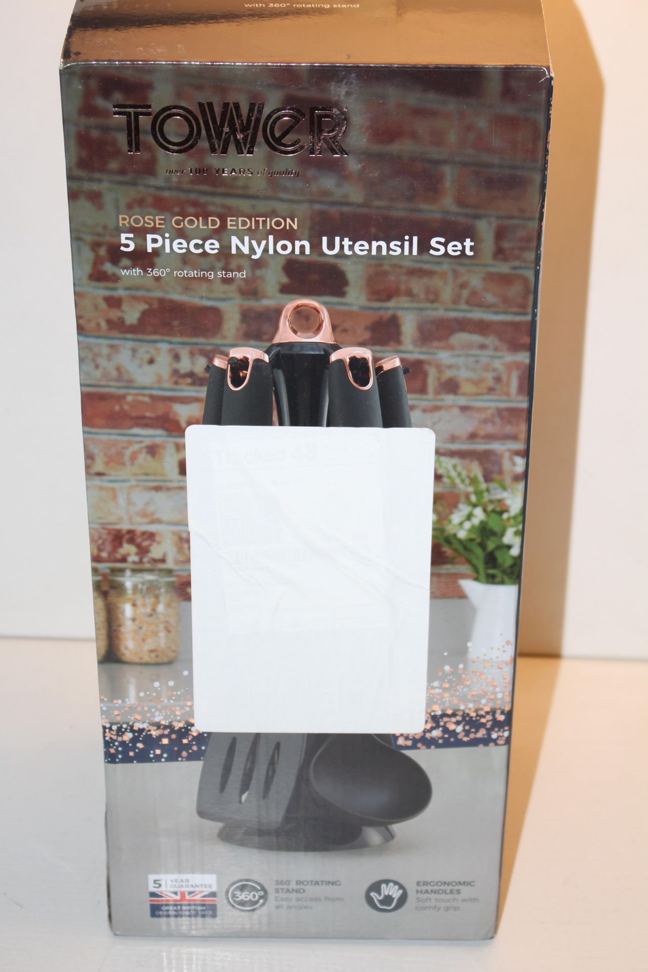 BOXED TOWER ROSE GOLD EDITION 5 PIECE NYLON UTENSIL SET WITH 360' ROTATING STAND Condition