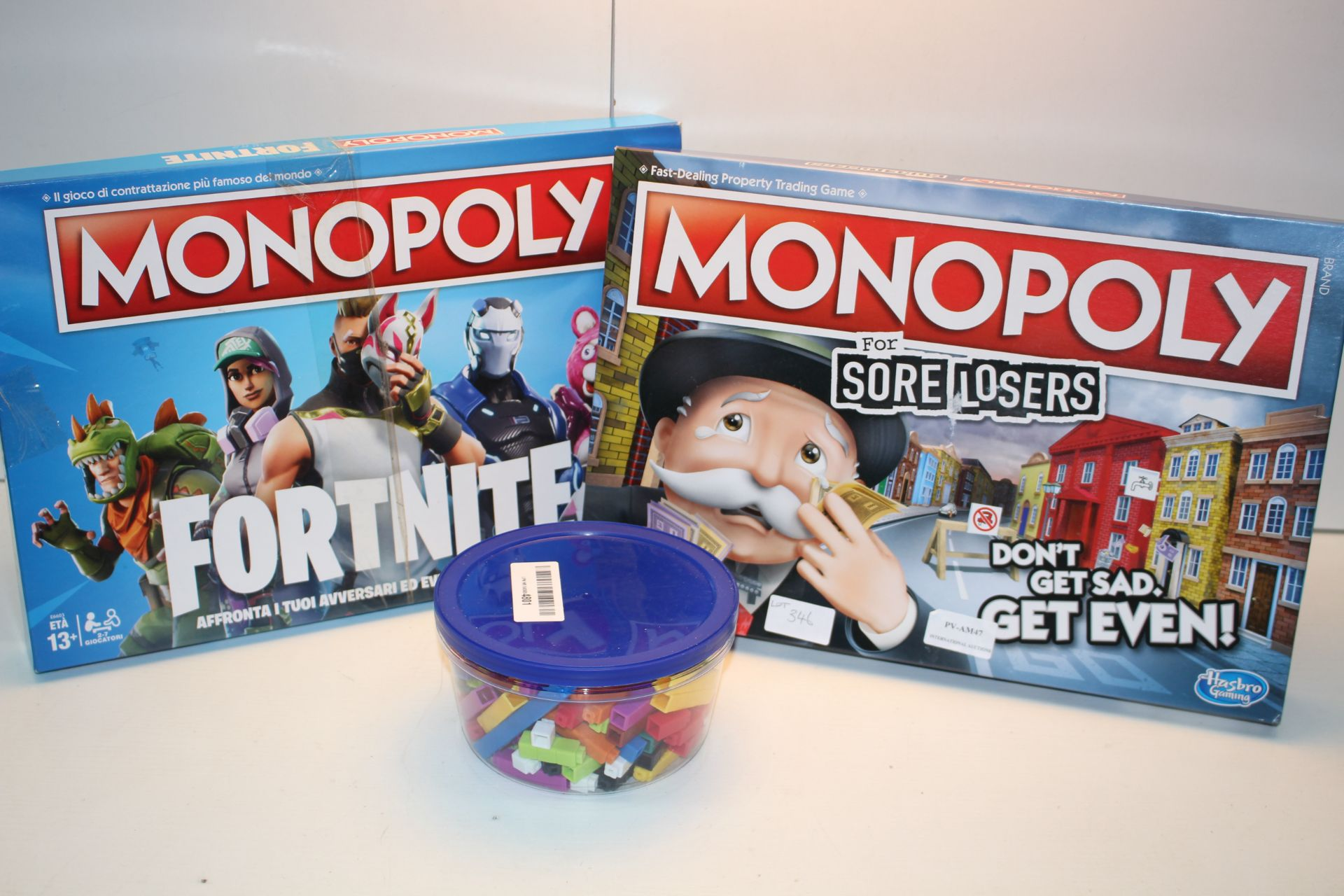 3X BOXED ASSORTED ITEMS TO INCLUDE MONOPOLY FORTNITE & SORE LOSERS (IMAGE DEPICTS STOCK)Condition