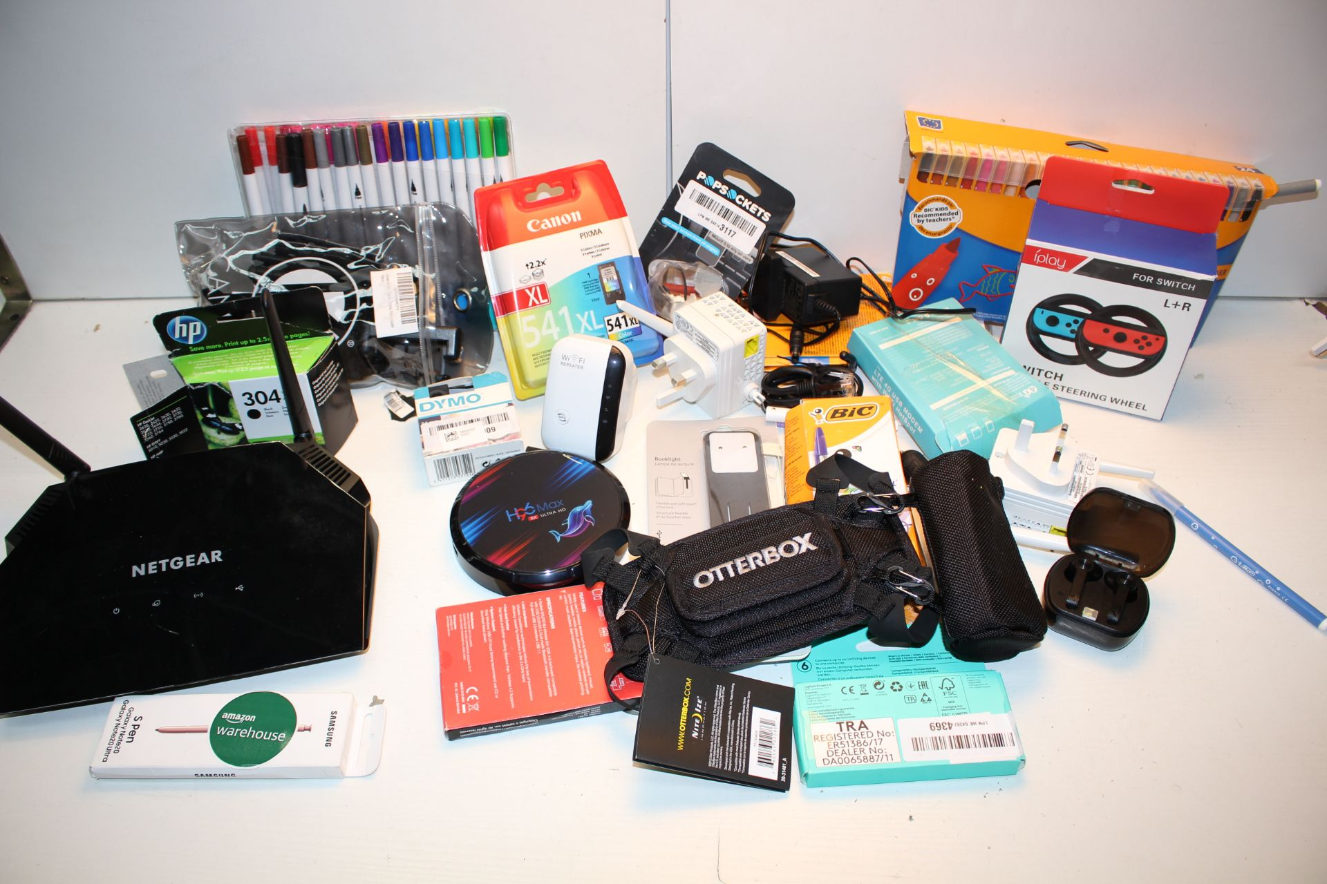 20X ASSORTED ITEMS TO INCLUDE WIFI RANGE EXTENDERS, CANON INK CARTRIDGES IPLAY DEVICES & OTHJER (