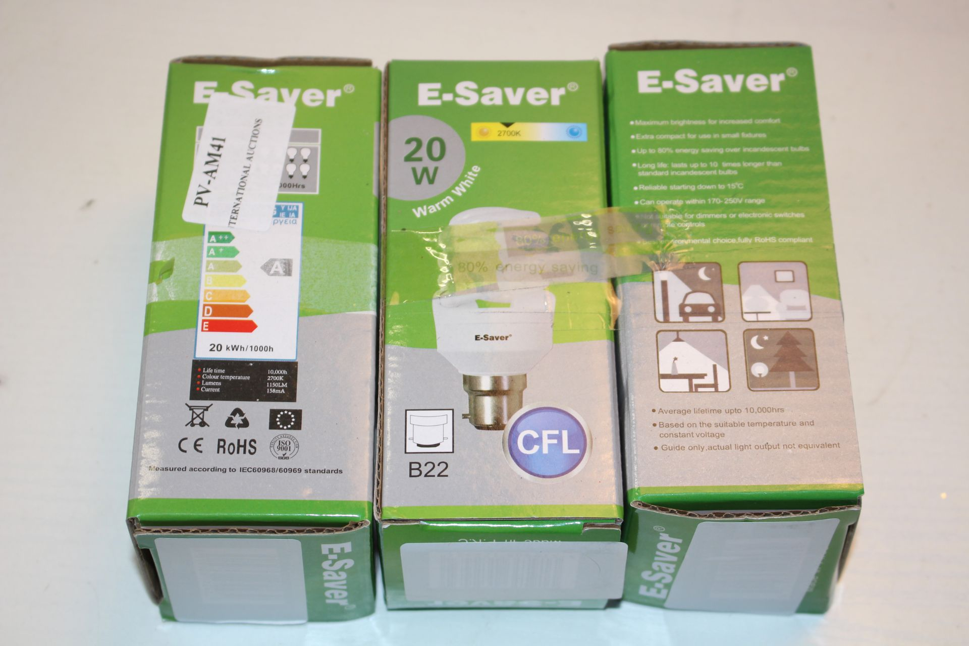 X3 BOXED E SAVER BULBSCondition ReportAppraisal Available on Request- All Items are Unchecked/