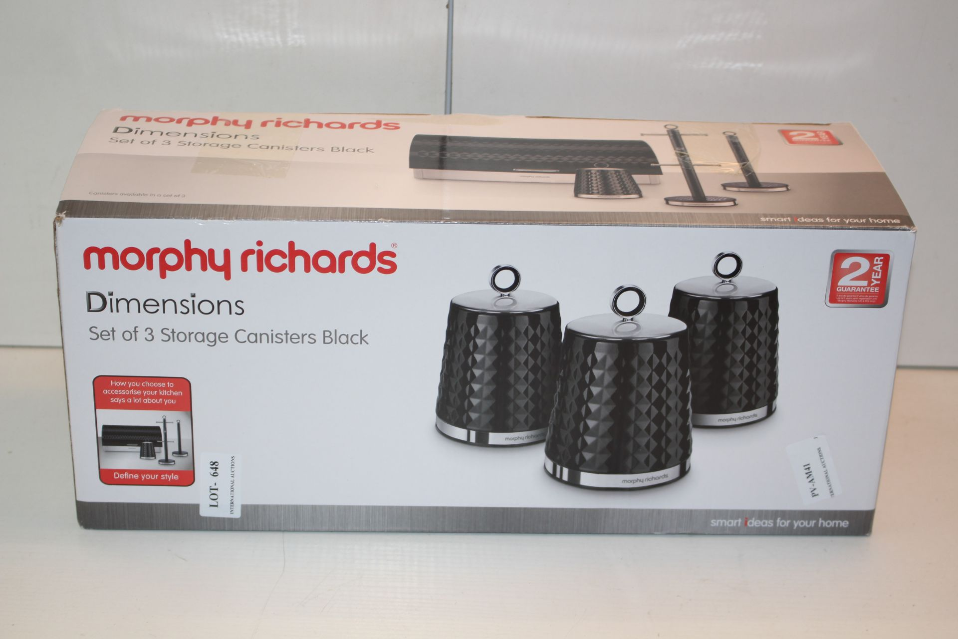 BOXED MORPHY RICHARDS SET OF THREE CANISTERS IN BLACKCondition ReportAppraisal Available on Request-