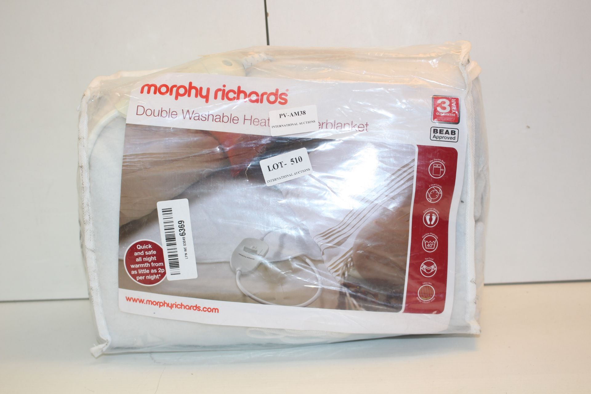 MORPHY RICHARDS DOUBLE WASHABLE HEATED BLANKET Condition ReportAppraisal Available on Request- All