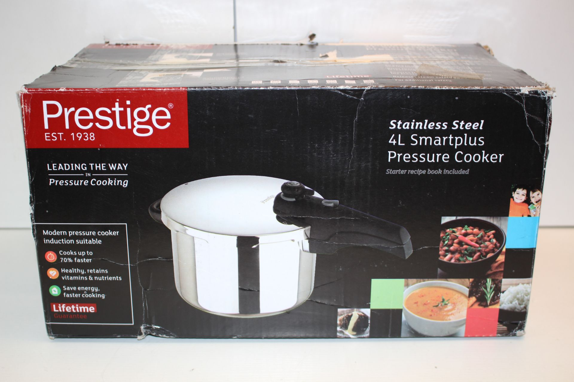 BOXED PRESTIGE STAINLESS STEEL 4L SMARTPLUS PRESSURE COOKERCondition ReportAppraisal Available on