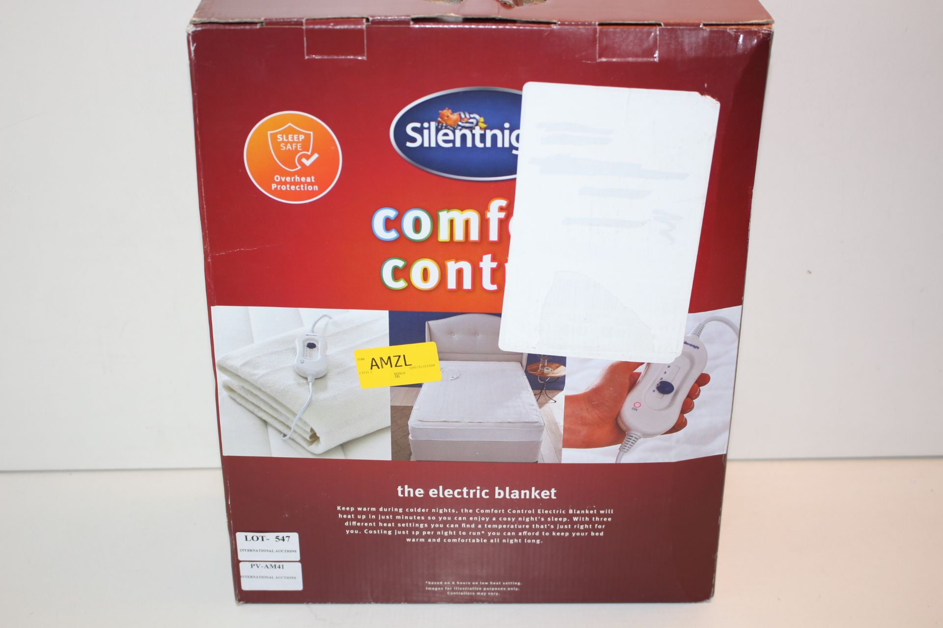BOXED SILENTKINIGHT CONTYROL COMFORT ELECTRIC BLANKETCondition ReportAppraisal Available on Request-