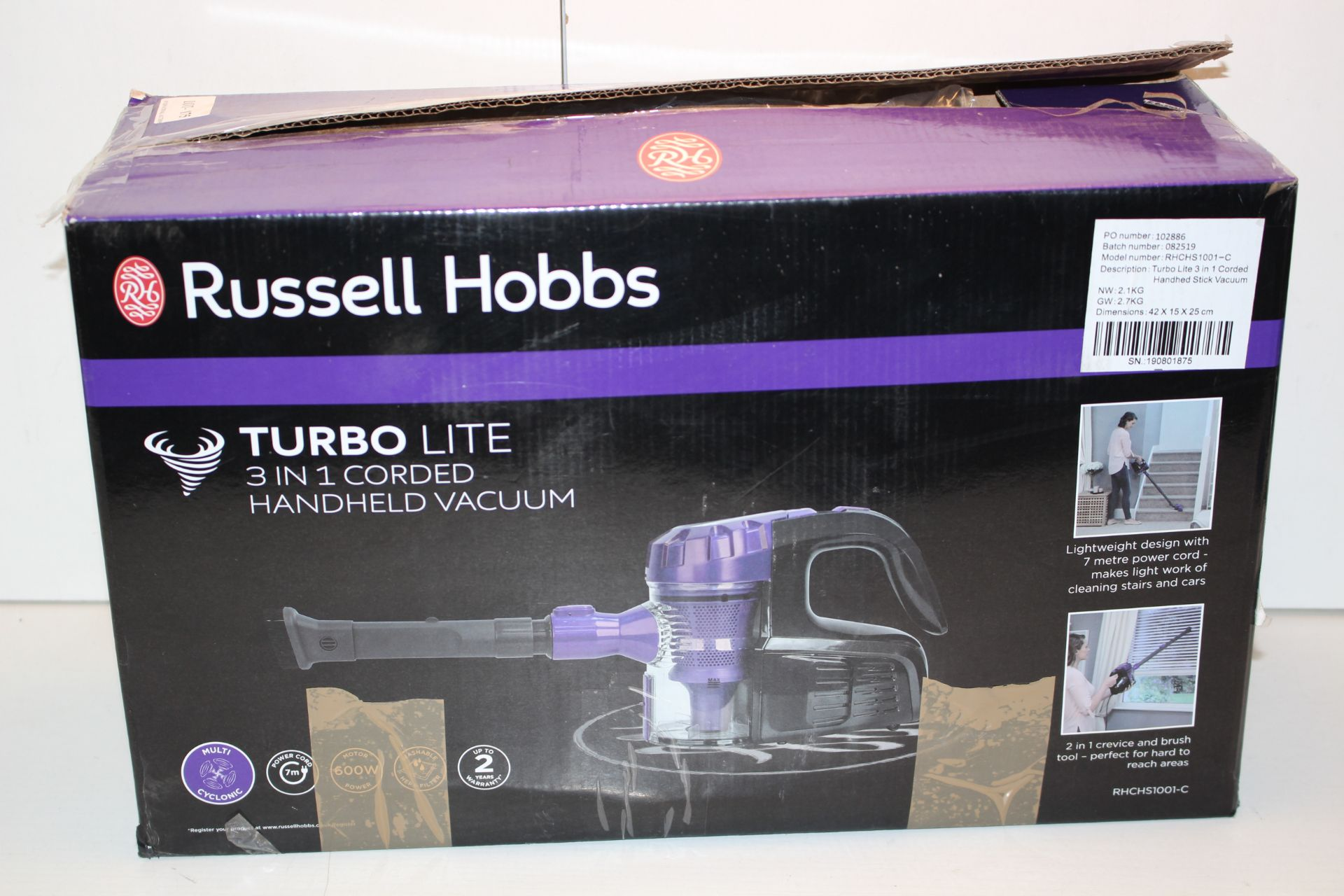 BOXED RUSSELL HOBBS TURBO LITE 3-IN-1 CORDED HANDHELD VACUUM CLEANER RRP £59.99Condition