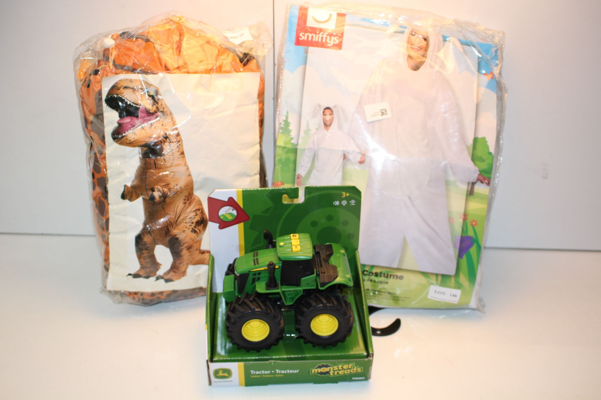3X ASSORTED ITEMS TO INCLUDE TOY TRACTOR, SMIFFYS BUNNY SUIT & OTHER (IMAGE DEPICTS STOCK)