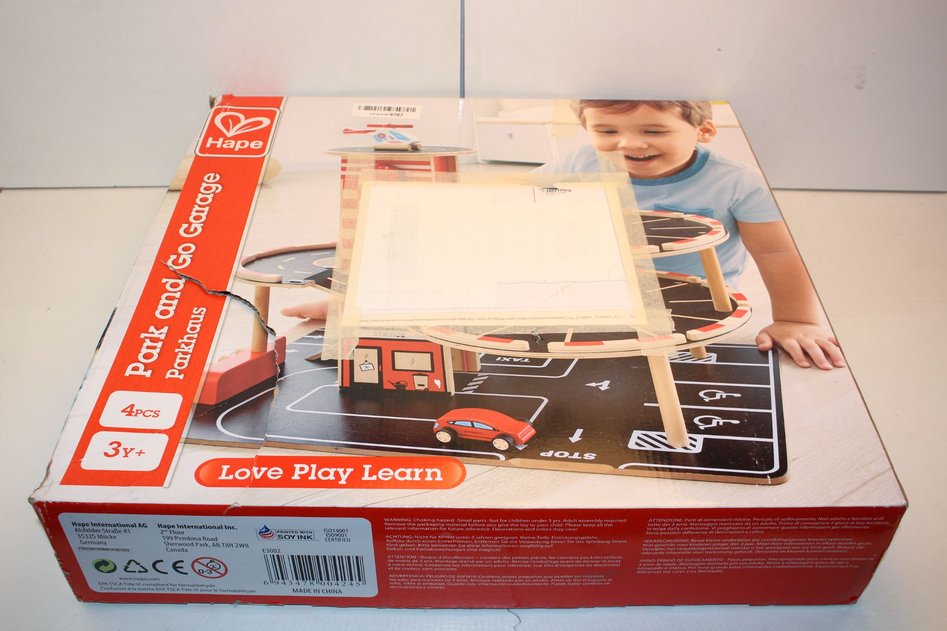 BOXED HAPE PARK AND GO GARAGE Condition ReportAppraisal Available on Request- All Items are