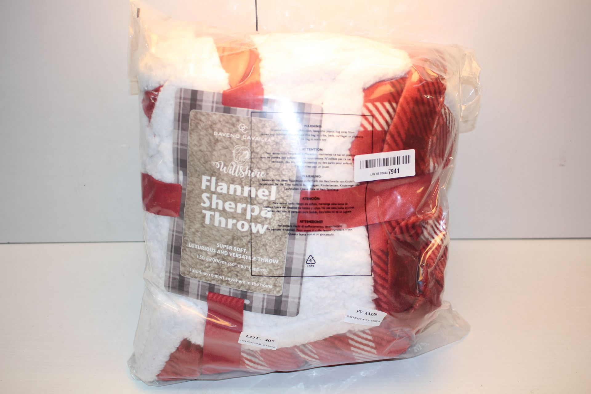 BAGGED GAVENO CAVAILIA FLANNEL SHERPA THROW Condition ReportAppraisal Available on Request- All