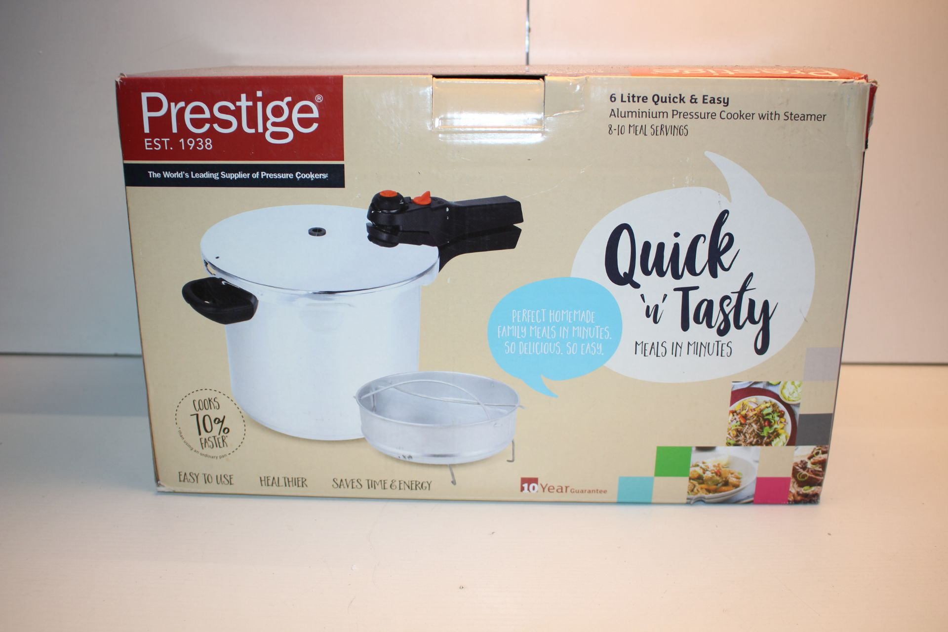 BOXED PRESTIGE QUICK AND TASTY 6 LITRE PRESDSURE COOKER WITH STEAMERCondition ReportAppraisal