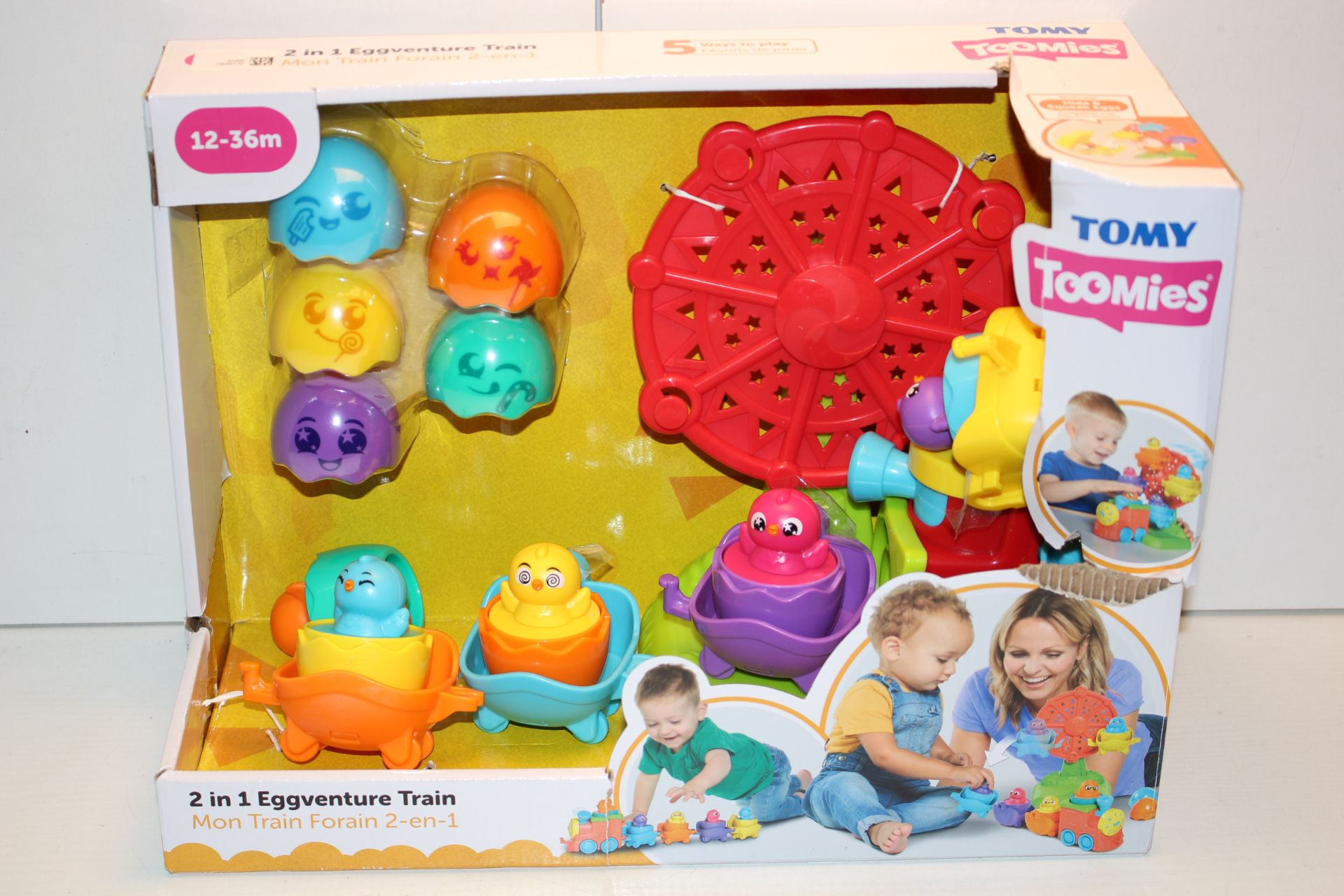 BOXED TOMY TOOMIES 2-IN-1 EGGVENTURE TRAIN 12-36MCondition ReportAppraisal Available on Request- All