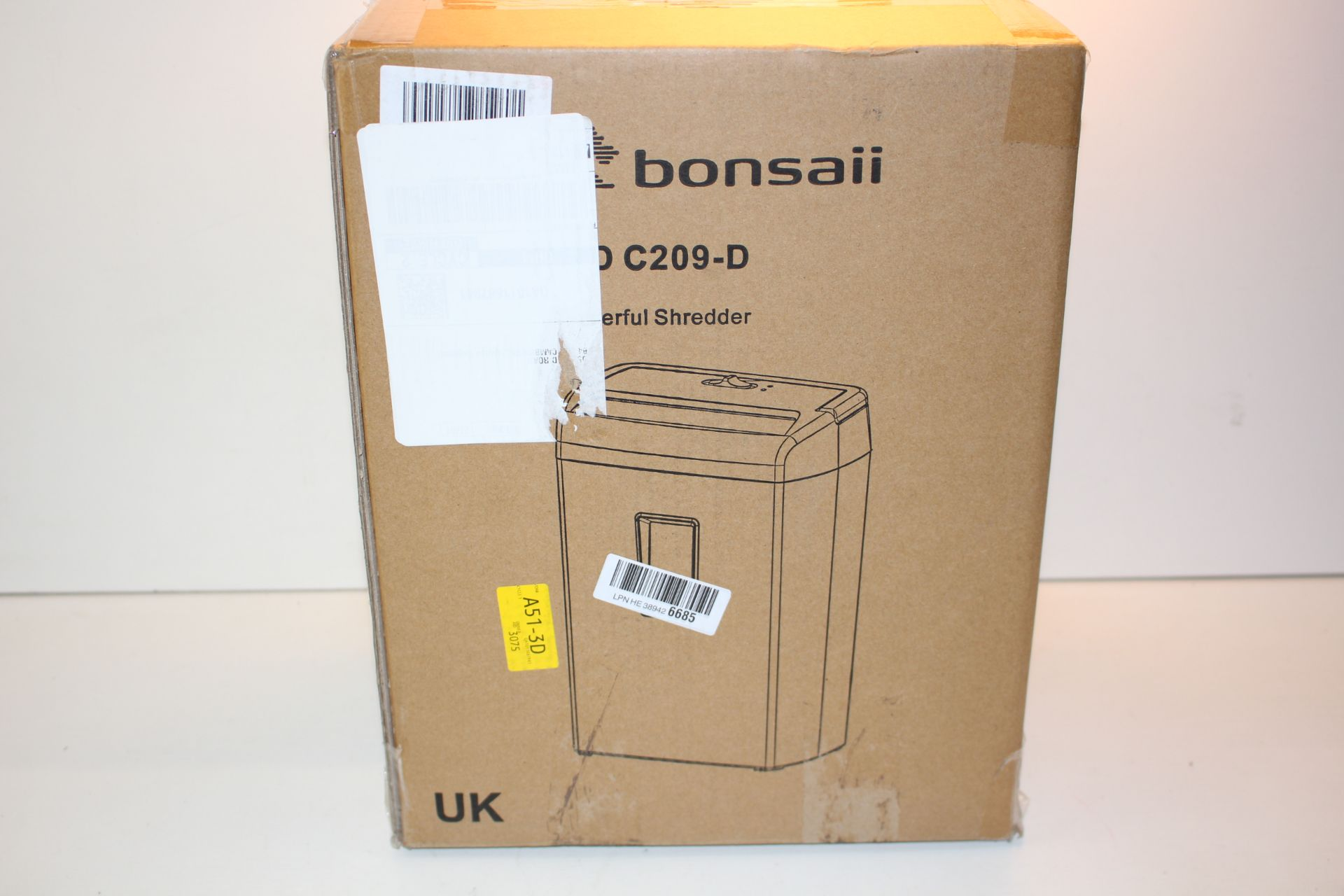 BOXED BONSAII DOCSHRED C209-D PAPER SHREDDER RRP £62.99Condition ReportAppraisal Available on