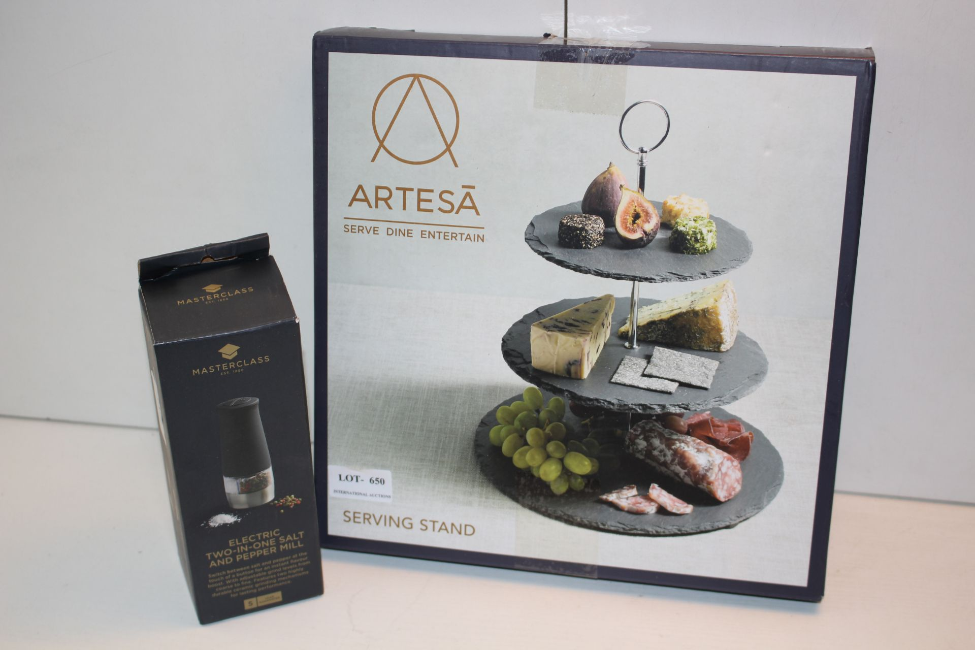 X2 BOXED ITEMS INCLUDING ARTESA SERVING STAND AND MASTYER CLASS TWO IN ONE SALT AND PEPPER