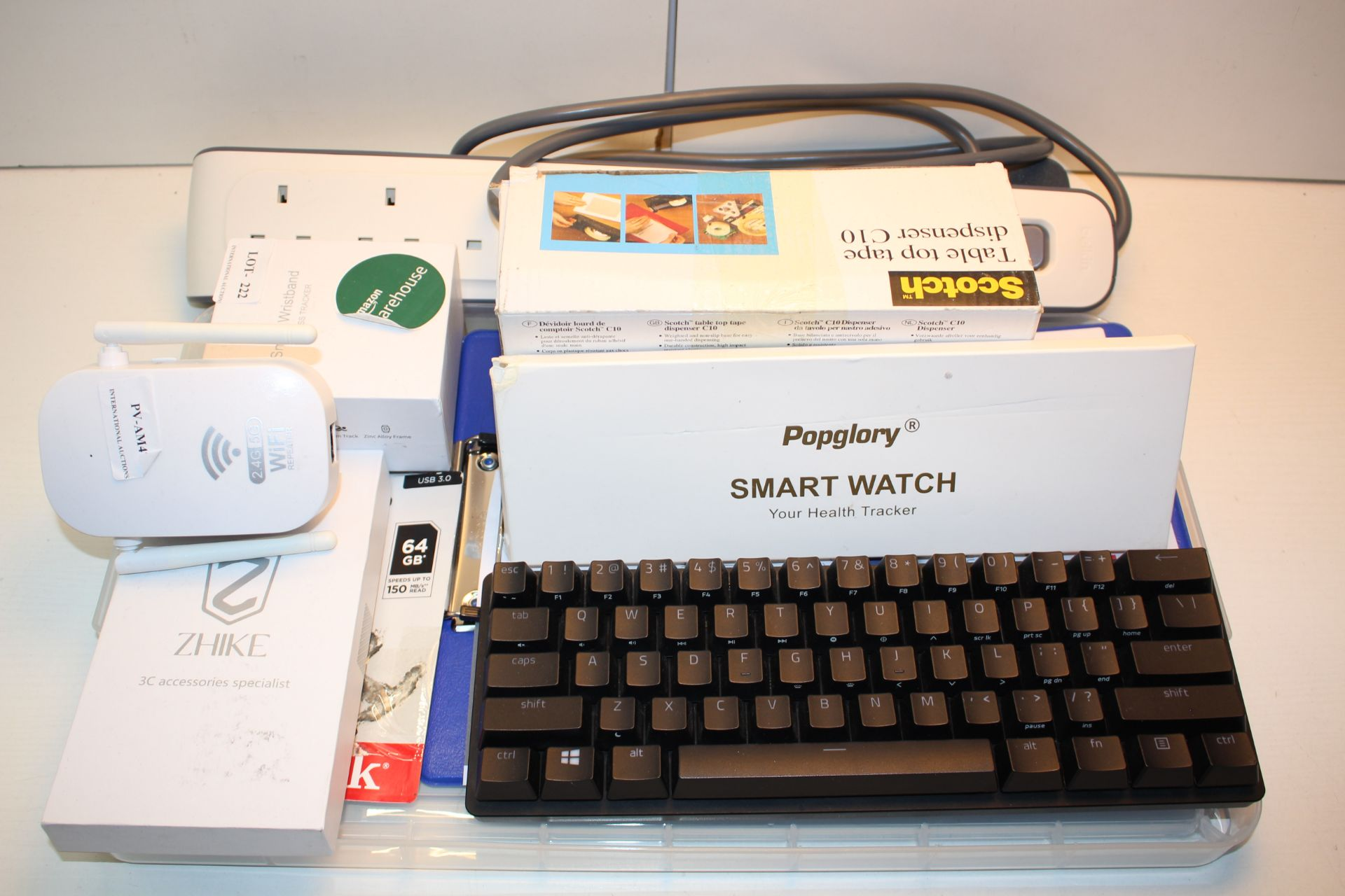 9X ASSORTED ITEMS TO INCLUDE KEYBOARD, SMART WATCH, WI-FI REPEATER & OTHER (IMAGE DEPICTS STOCK)