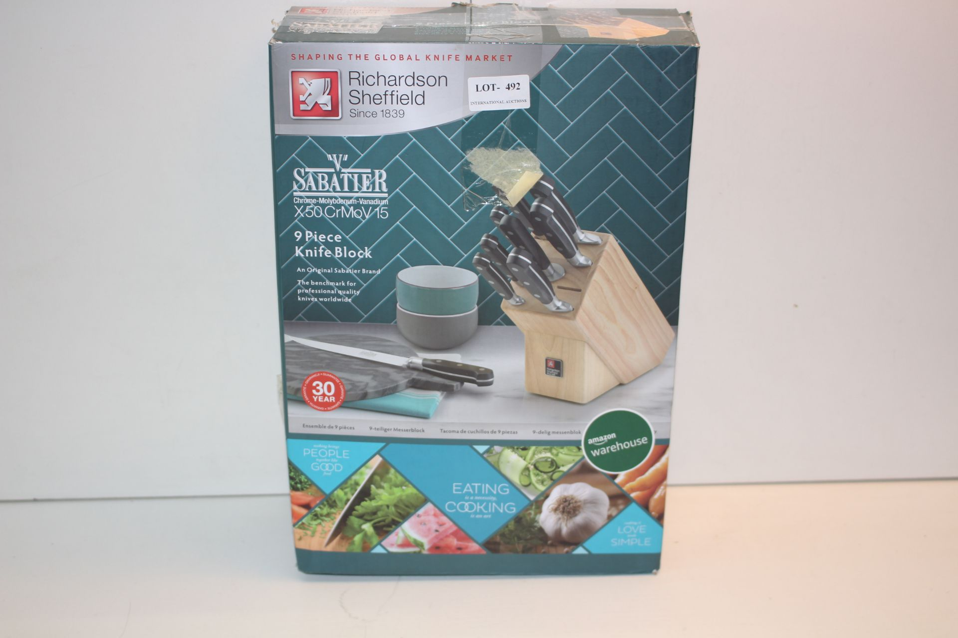 BOXED RICHARDSON SHEFFIELD 9 PIECE KNIFE BLOCK SET Condition ReportAppraisal Available on Request-