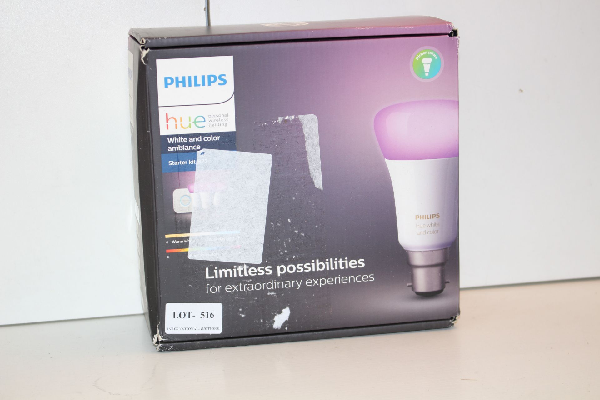 BOXED PHILIPS HUE STARTEER KIT B22Condition ReportAppraisal Available on Request- All Items are
