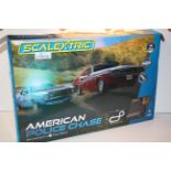 BOXED SCALEXTRIC AMERICAN POLICE CHASE AMC JAVELIN POLICE CAR VS DODGE CHALLENGER RRP £120.