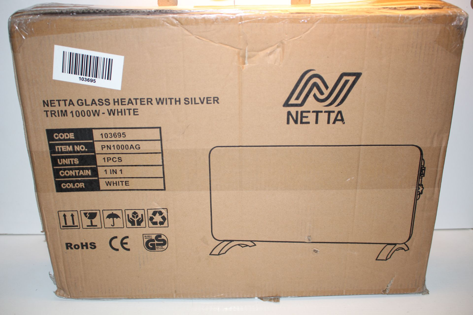 BOXED NETTA GLASS HEATER WITH SILVER TRIM 1000W - WHITE RRP $39.99Condition ReportAppraisal