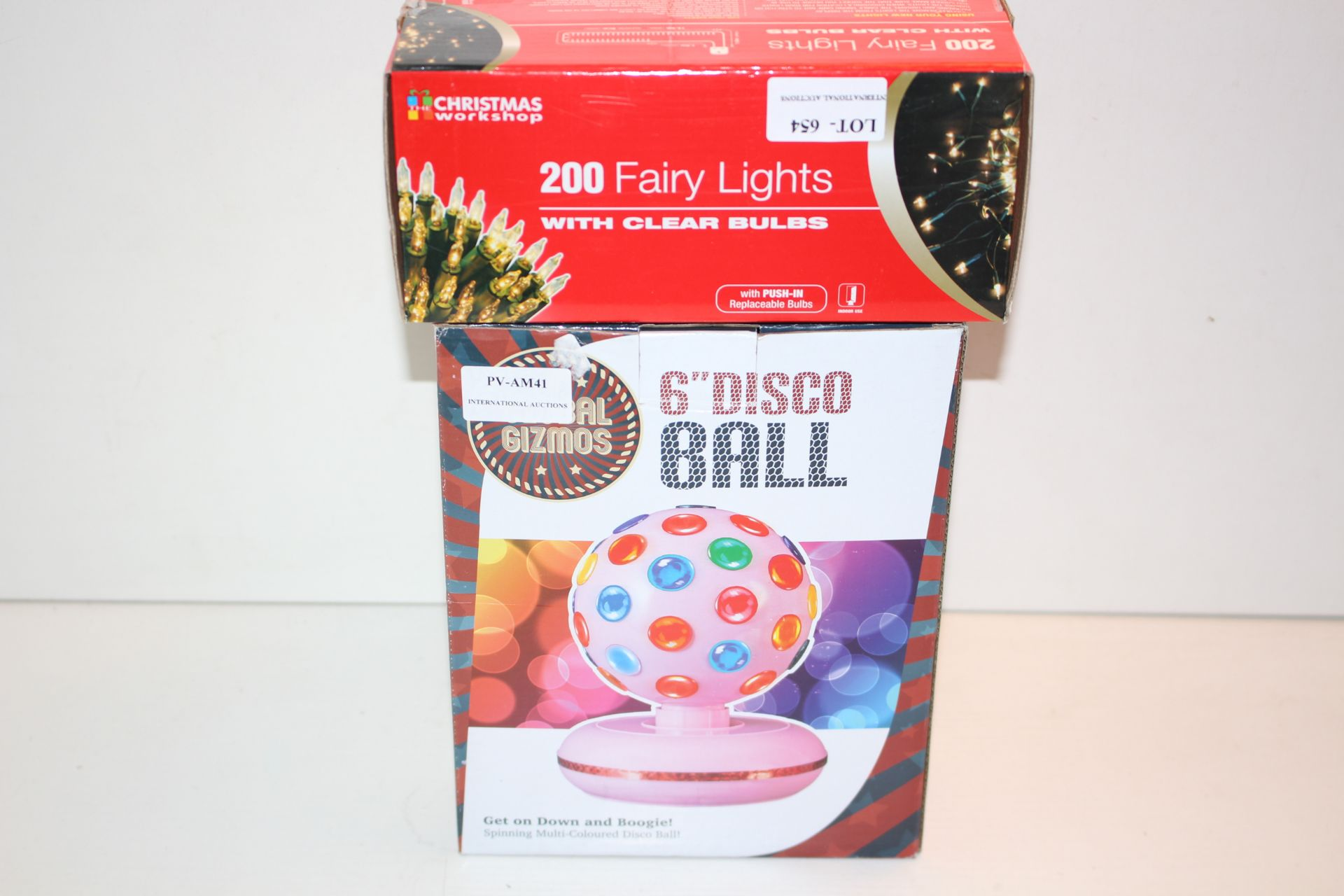 X2 BOXED ITEMS INCLUDING DISCO BALL AND FAIRY LIGHTSCondition ReportAppraisal Available on