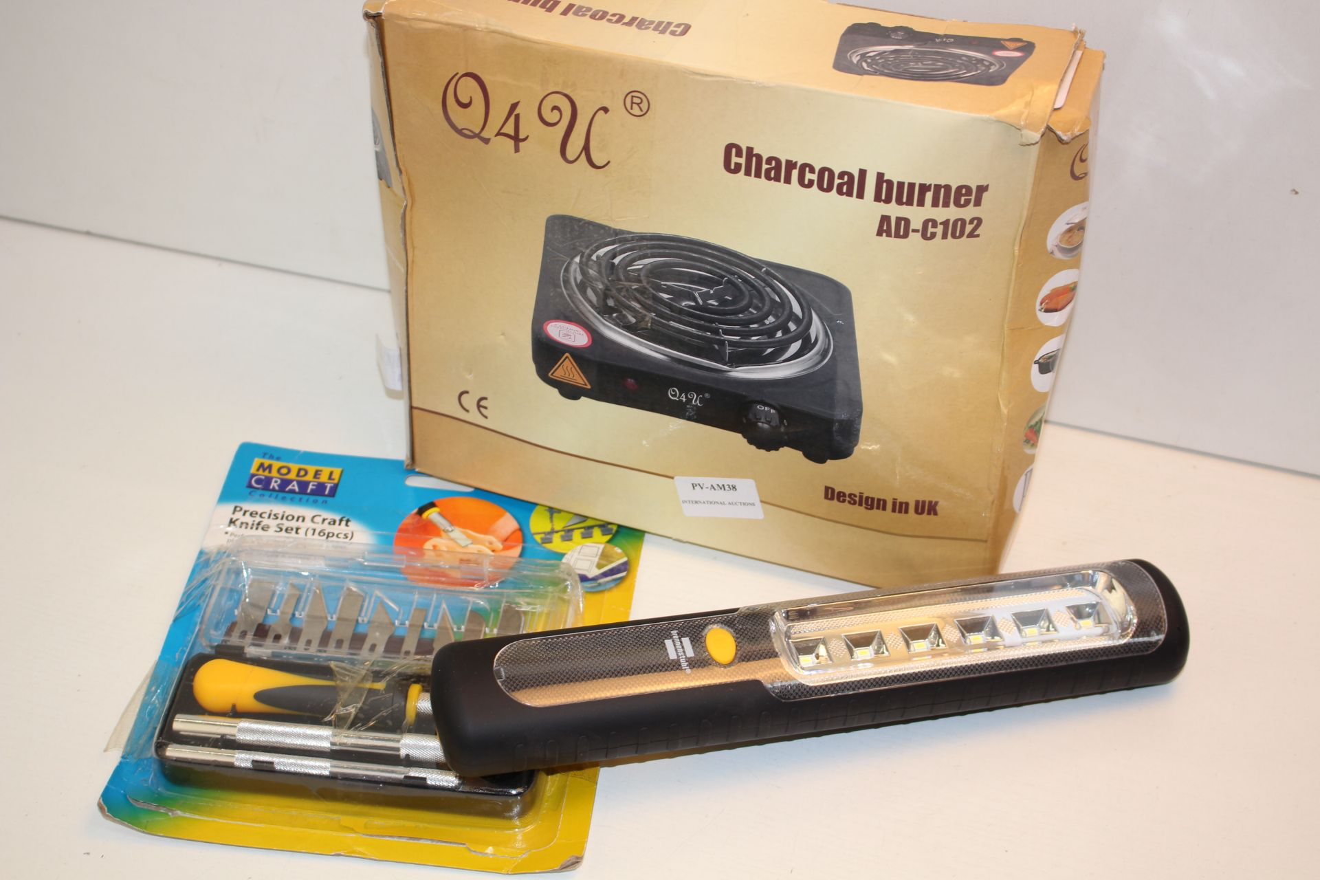 X3 ITEMS INCLUDING LIGHT, KNIFE SET ASND CHARCOAL BURNER Condition ReportAppraisal Available on