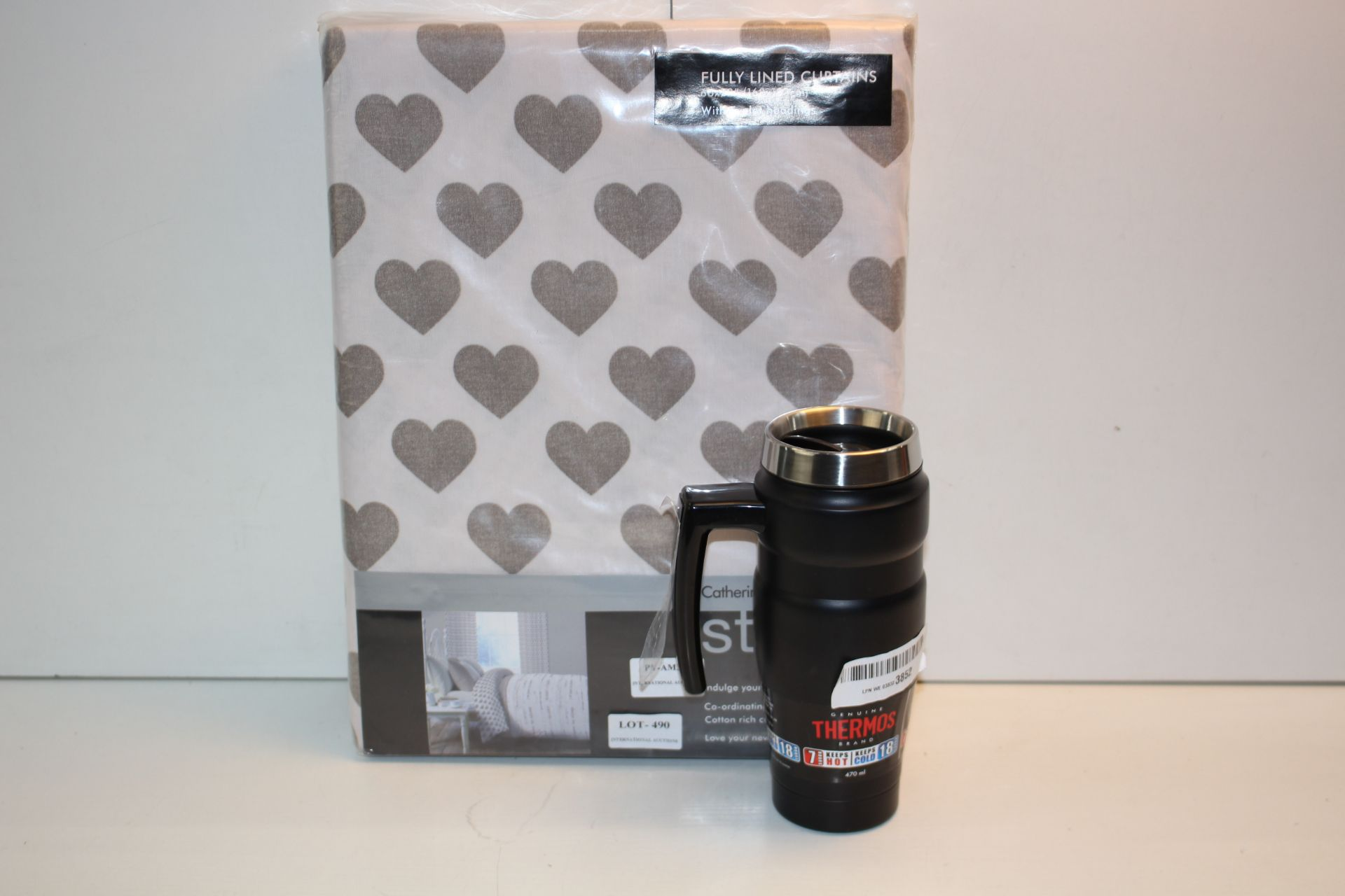 X2 HOME ITEMS INCLUDING 66X72 FULLY LINED CURTAINS AND THERMOS 470ML CUP Condition ReportAppraisal