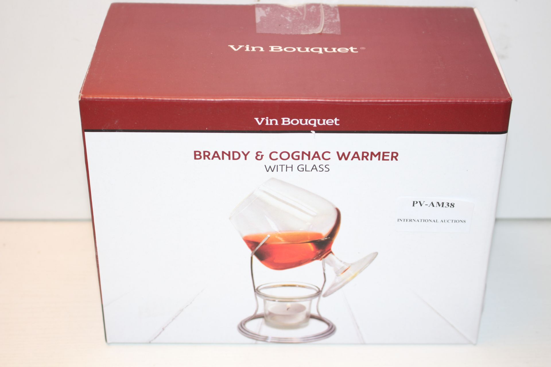 BOXED VIN BOUQUET BRANDY & COGNAC WARMER WITH GLASSCondition ReportAppraisal Available on Request-