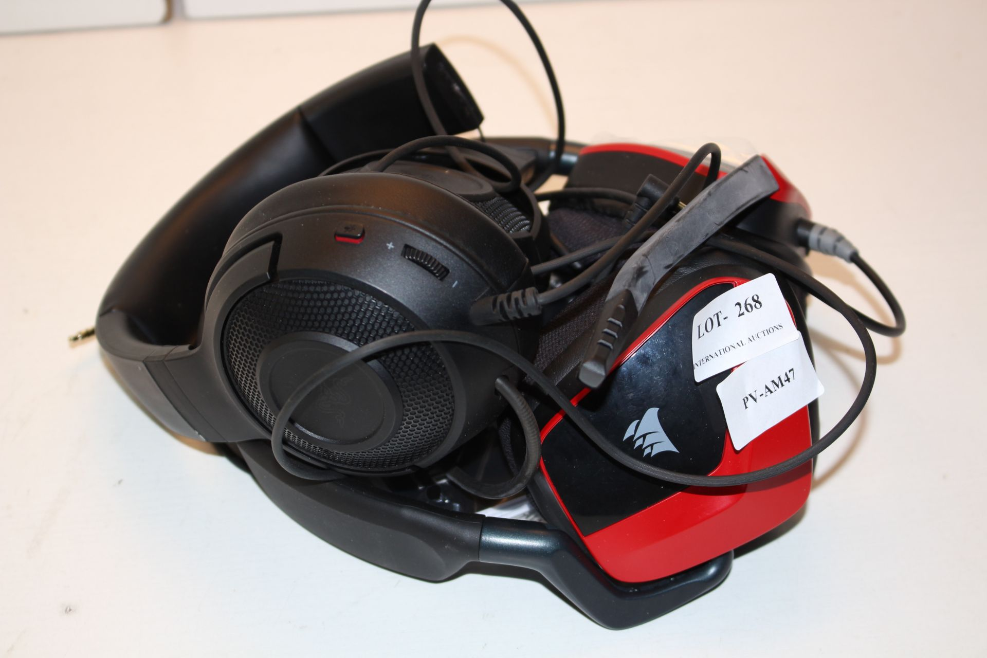 2X SETS GAMING HEADPHONES BY CORSAIR & RAZER Condition ReportAppraisal Available on Request- All