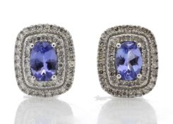 9ct White Gold Oval Diamond And Tanzanite Earring 0.35 Carats - Valued by GIE £3,320.00 - Unique and