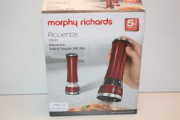 BOXED MORPHY RICHARDS ACCENTS RED ELECTRONIC SALT & PEPPER MILL SET RRP £29.99Condition