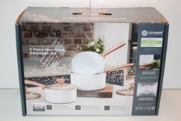 BOXED TOWER LINEAR ROSE GOLD EDITION 3 PIECE NON-STICK SAUCEPAN SET RRP £47.99Condition