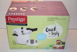 BOXED PRESTIGE 6LITRE SLEEK & SIMPLE ALUMINIUM PRESSURE COOKER WITH STEAMER RRP £59.99Condition