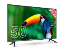 BOXED CELLO 50 inch TV WITH GOOGLE ASSIST, DOES NOT POWER ON, NO SCREEN DAMAGE, INCLUDES, STAND &