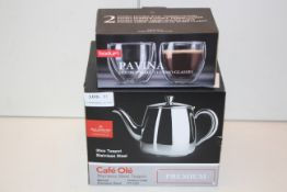 2X ASSORTED BOXED ITEMS TO INCLUDE CAFÉ OLE STAINLESS STEEL TEAPOT & BODUM PAVINA GLASSESCondition