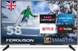 BOXED FERGUSON 58inch F5820RTS4K, RRP-£475.99, TV TURNS ON- INCLUDES REMOTE, STAND & MANUAL
