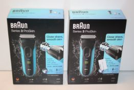 2X BOXED BRAUN SERIES 3 PROSKIN WET & DRY SHAVERS MODEL: 3040S RRP £54.99 EACHCondition