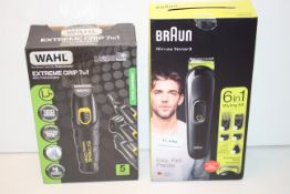 2X BOXED ASSORTED ITEMS TO INCLUDE BRAUN ALL-IN-ONE TRIMMER 3 & WAHL EXTREME GRIP 7-IN-1