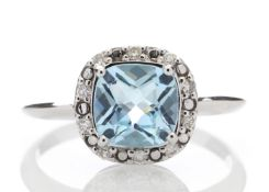 9ct White Gold Diamond And Blue Topaz Ring 0.10 Carats - Valued by GIE £1,920.00 - 9ct White Gold