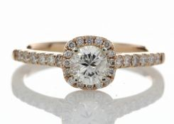 18ct Rose Gold Single Stone With Halo Setting Ring (0.50) 0.74 Carats - Valued by AGI £4,386.00 -