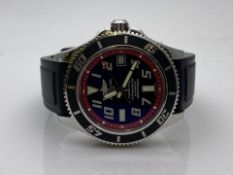 GENTS BREITLING SUPEROCEAN MODEL- A17364, BLACK RUBBER STRAP WITH STAINLESS STEEL CASE AND BLACK