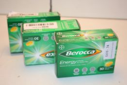 3X BOXED 30PACKS BEROCCA ENERGY RELEASE VITAMINS B1 & B2 FILM COATED TABLETS COMBINED RRP £24.